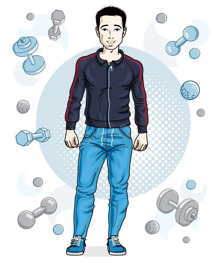 Junger erwachsener Mann der glücklichen Brünette, der auf einfachem Hintergrund mit Dummköpfen und Barbells steht vektor abbildung
