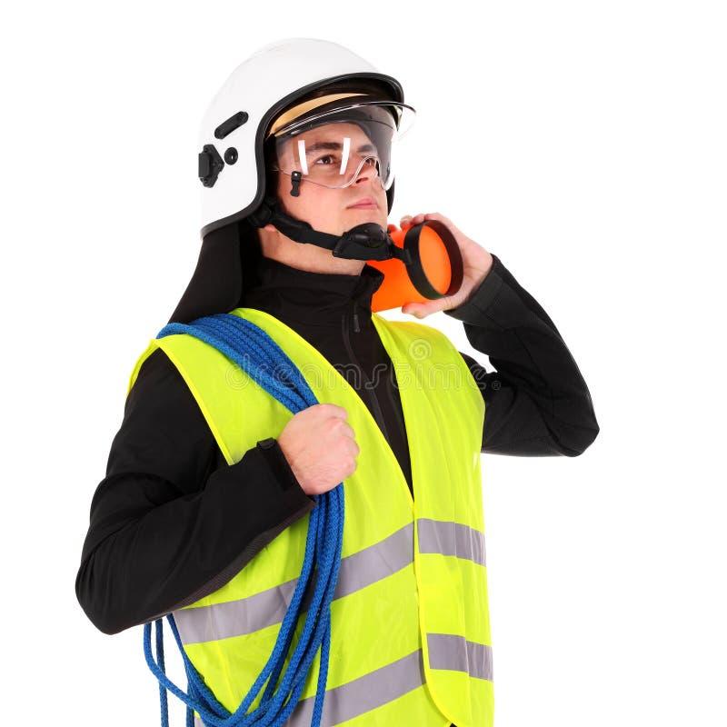 Junger Feuerwehrmann stockfoto