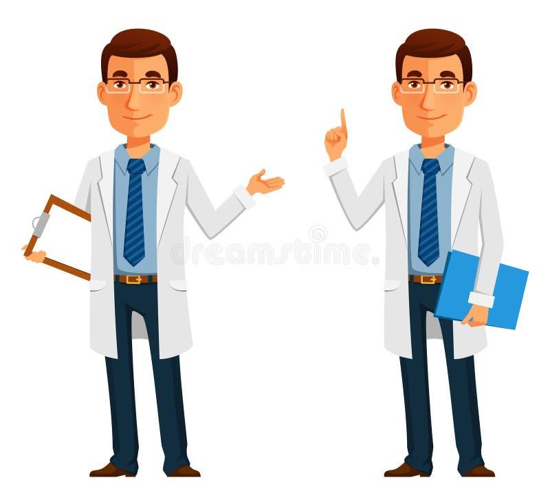 Junger freundlicher Doktor im weißen Mantel stock abbildung