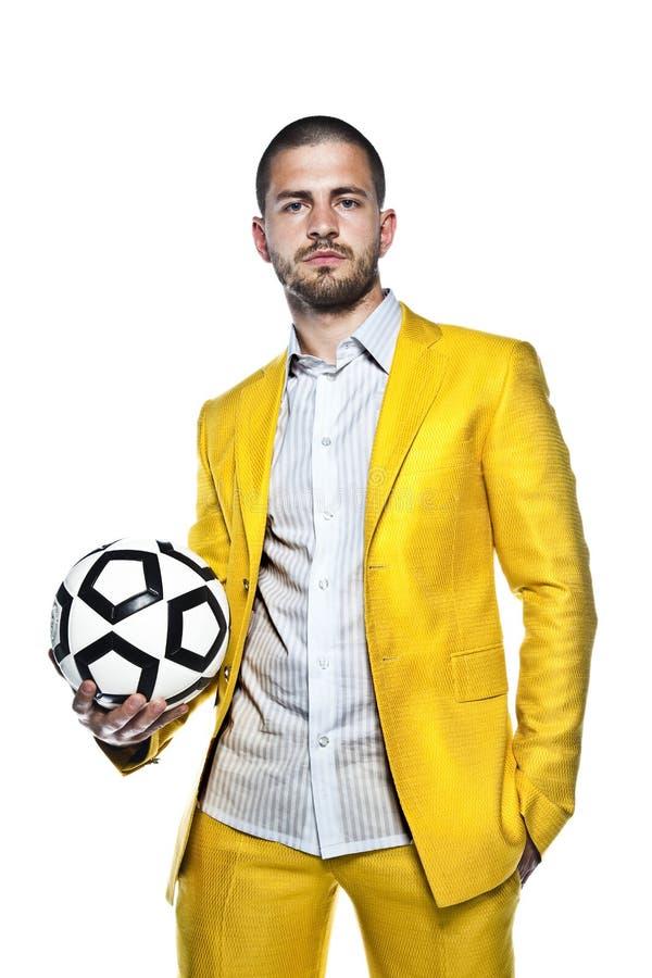 Junger Fußballmanager, lokalisiert auf weißem Hintergrund lizenzfreie stockfotografie
