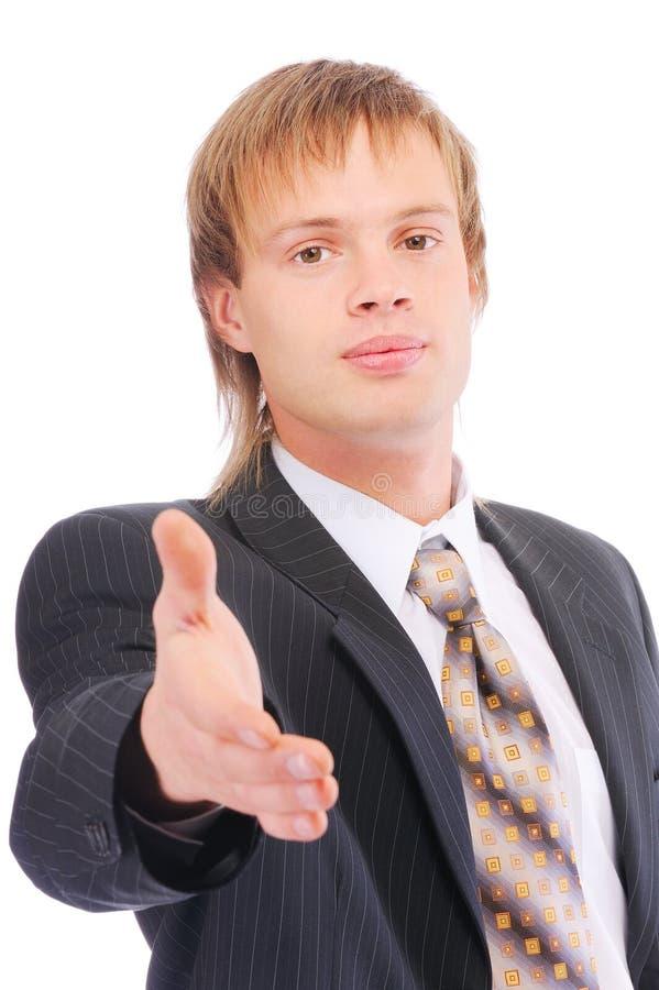 Junger Geschäftsmann betriebsbereit, ein Abkommen einzustellen stockfoto
