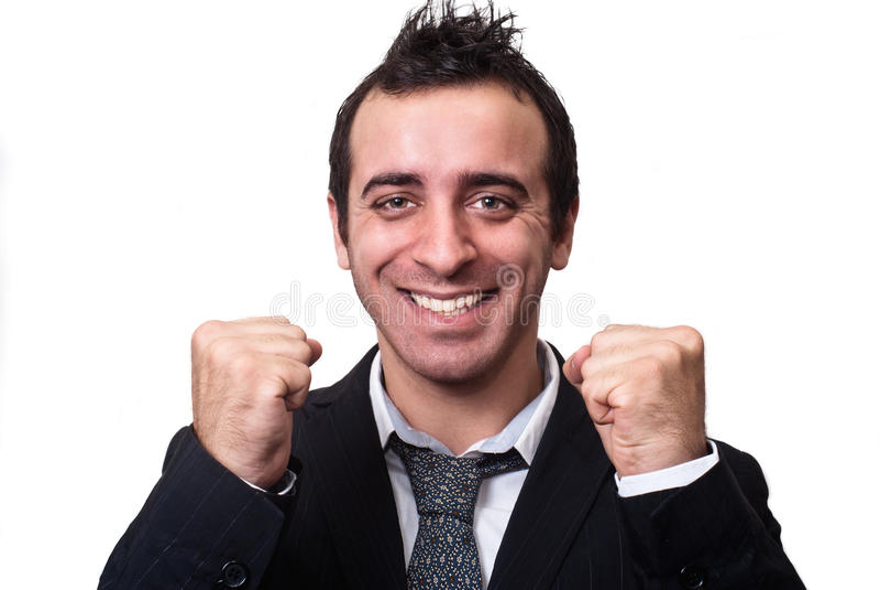 Junger Geschäftsmann, der den Erfolg lokalisiert auf Weiß genießt stockbilder