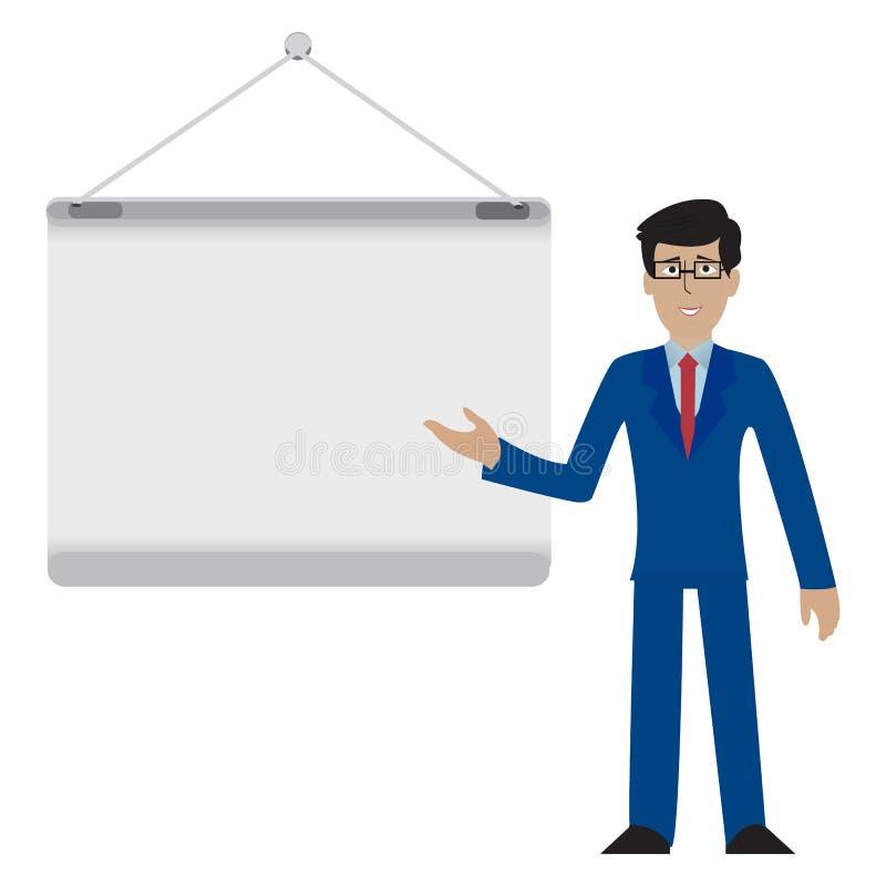 Junger Geschäftsmann in der Klage, die etwas auf einer leeren Brett Darstellungs-Seminarillustration darstellt stock abbildung