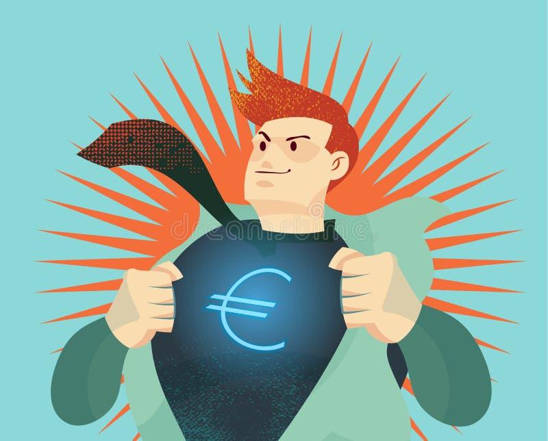 Junger Geschäftsmann, der sein Hemd mit Eurodollarzeichen auseinander reißt stock abbildung
