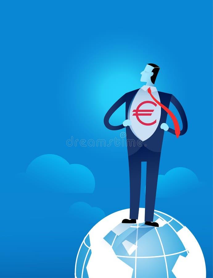 Junger Geschäftsmann, der sein Hemd mit Eurodollarzeichen auseinander reißt lizenzfreie abbildung