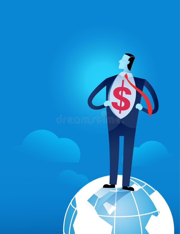 Junger Geschäftsmann, der sein Hemd mit US-Dollar Zeichen auseinander reißt stock abbildung