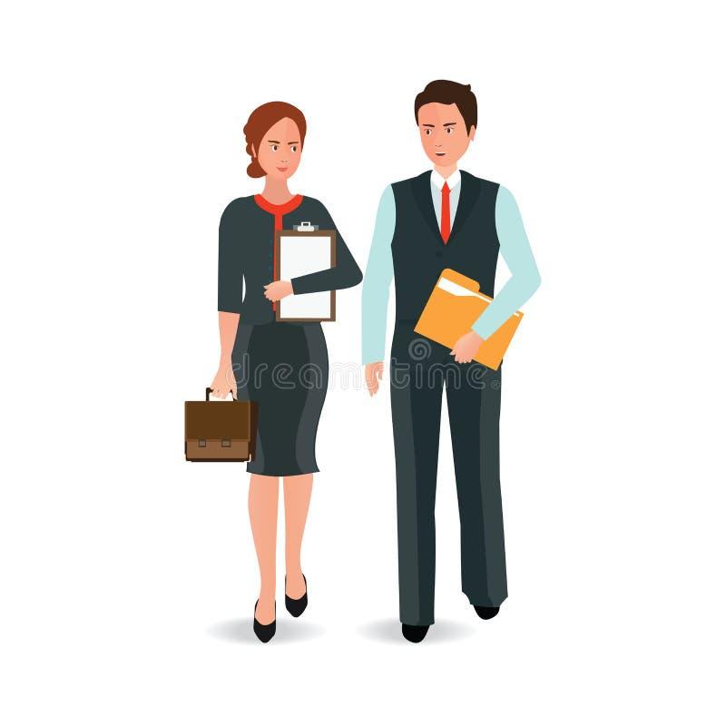 Junger Geschäftsmann und Frau in der Klage vorwärts gehend stock abbildung