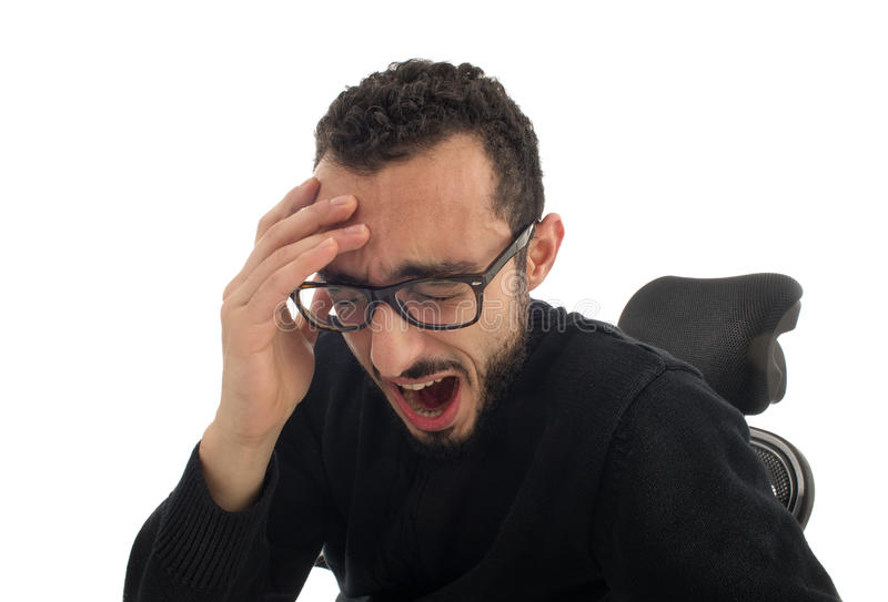 Junger Geschäftsmann Yawning lokalisierte stockfoto