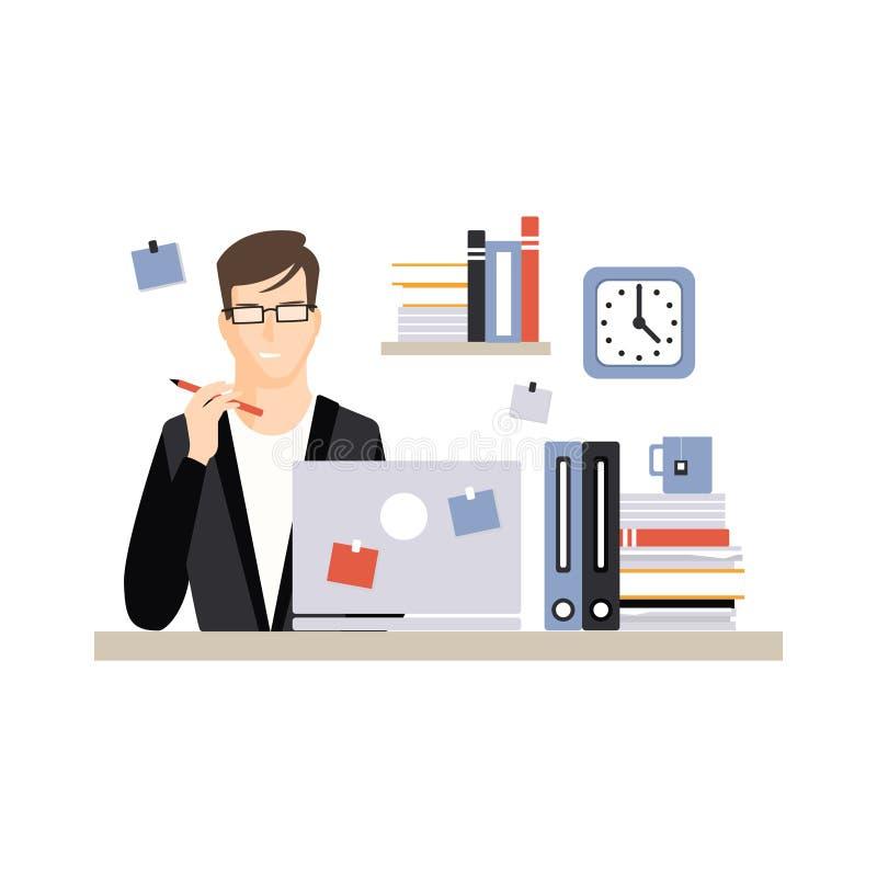 Junger Geschäftsmanncharakter, der am Schreibtisch mit Laptop und an der Funktion, Alltagsleben des Büroangestelltvektors sitzt vektor abbildung