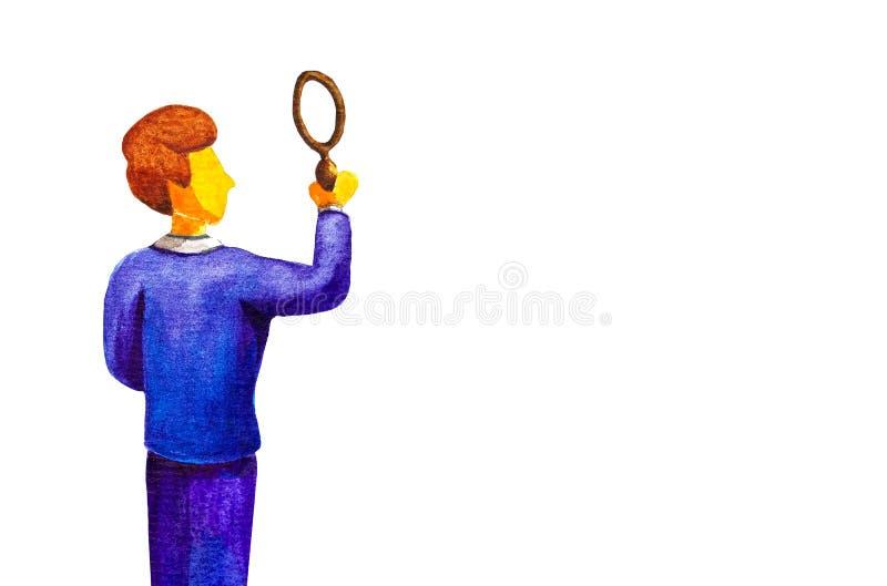 Junger Geschäftsmannsucherdetektiv in einem blauen Anzug, der ein Vergrößerungsglas hält, steht hinter Er sucht nach Antworten, b stock abbildung