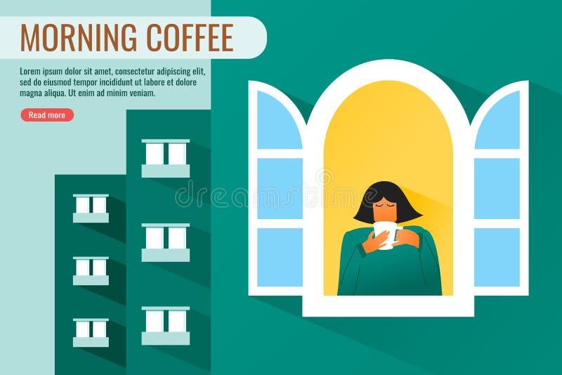 Junger gesunder Frauen-Getränk-Kaffee morgens lizenzfreie abbildung