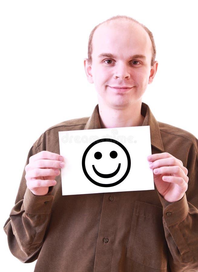 Junger glücklicher Mann mit dem glücklichen Lächeln getrennt stockbilder