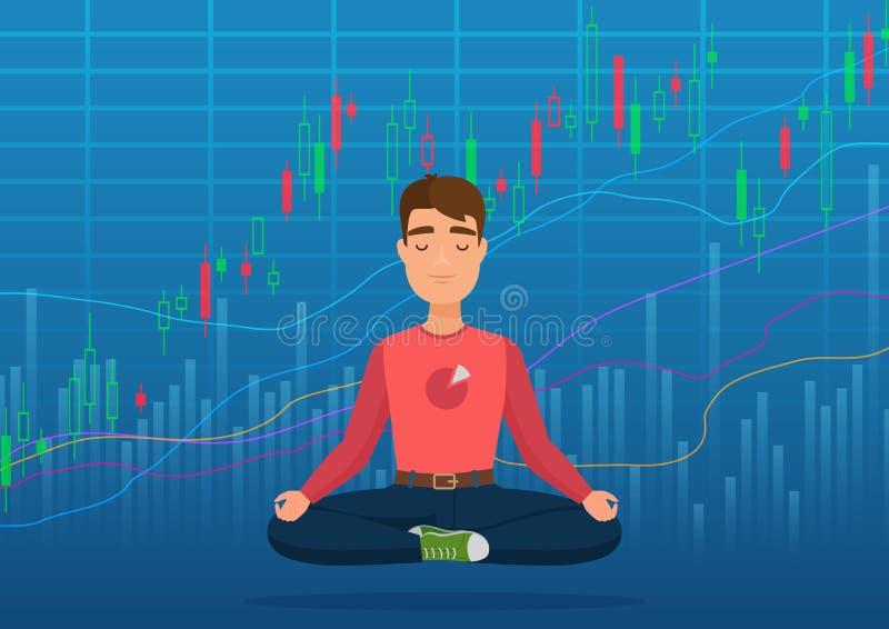 Junger glücklicher Mannhändler, der unter Schlüssel- oder Börseaustauschdiagrammkonzept meditiert Geschäftshändler, Finanzvorrat vektor abbildung