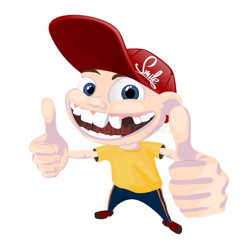 Junger glücklicher schauender und lachender Junge Gesichtsgefühl Zahnlos Kind kühl lizenzfreie abbildung