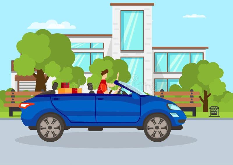 Junger Guy Driving Blue Cabriolet Auto in der Stadt lizenzfreie abbildung