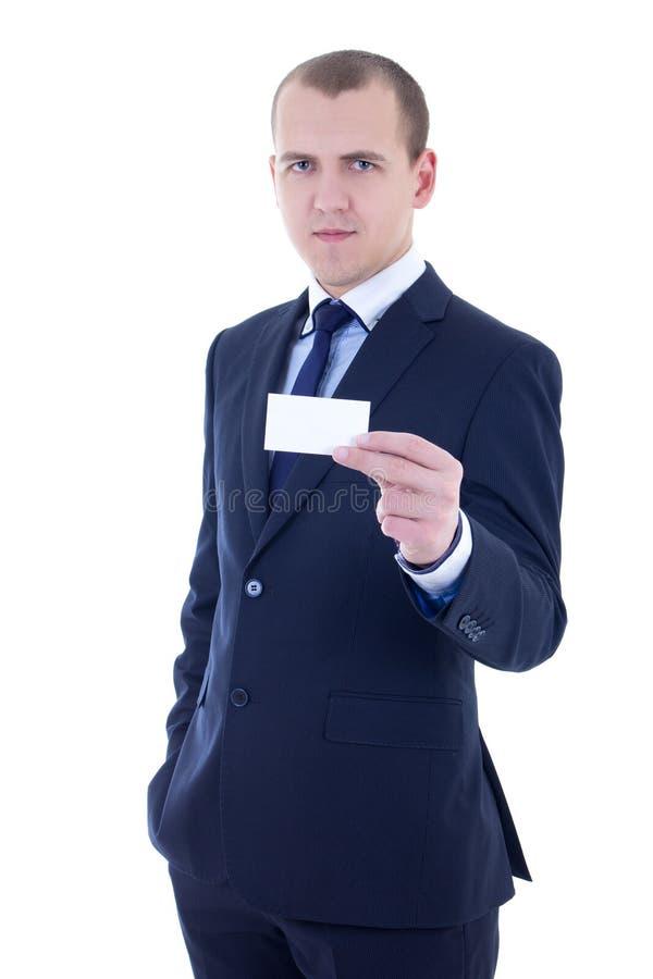 Junger hübscher Geschäftsmann in der Klage, die Visitenkarteisolat hält stockbilder