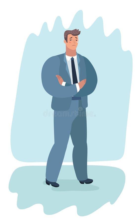 Junger hübscher Geschäftsmann, der mit den gefalteten Armen steht vektor abbildung