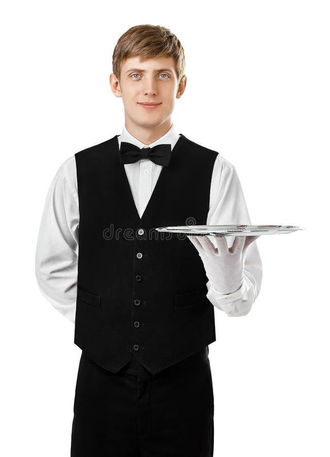 Junger hübscher Kellner, der leeren Behälter hält stockbild