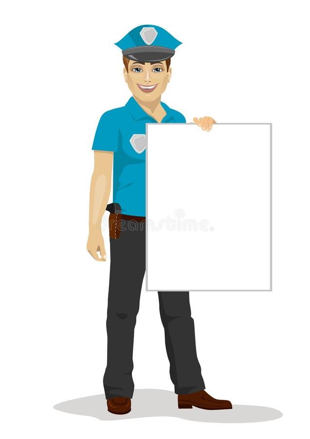 Junger hübscher Polizist, der leeres Brett über weißem Hintergrund hält stock abbildung