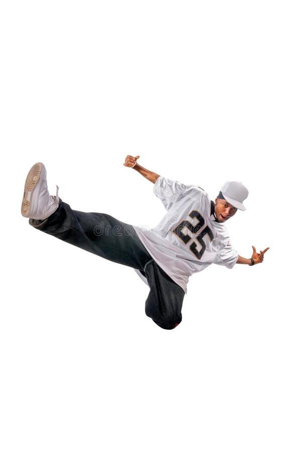 Junger Hip-hoptänzer auf Weiß stockfotografie