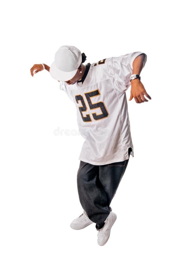 Junger Hip-hoptänzer auf Weiß stockbilder