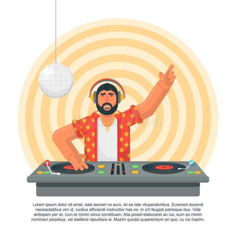 Junger Hippie DJ mit mischender Musik des Bartes auf den Drehscheiben Spielende und mischende Musik DJ DJ in den Kopfhörern, die  stock abbildung