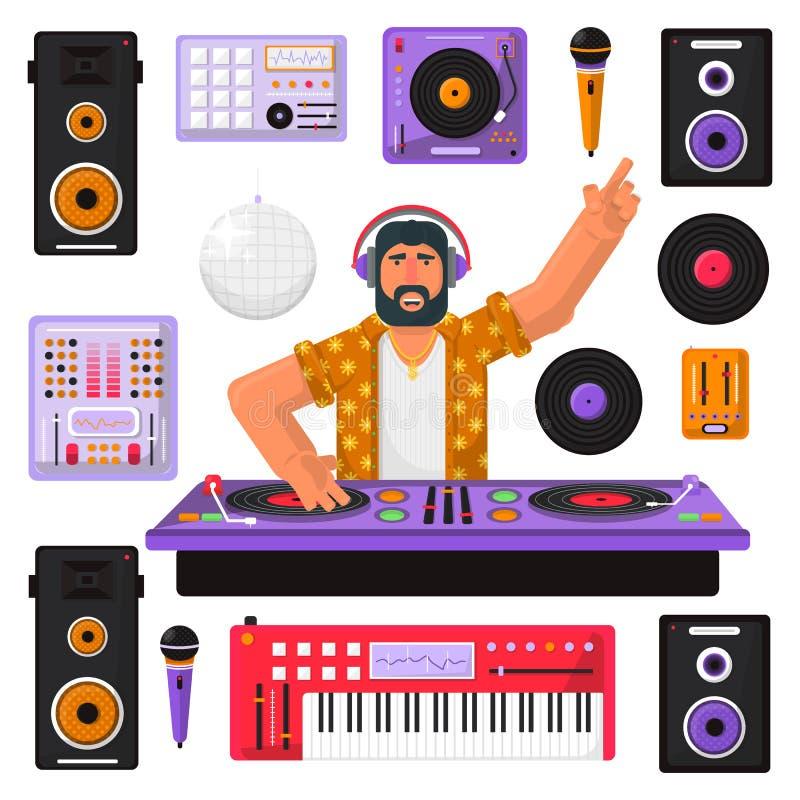 Junger Hippie DJ mit mischender Musik des Bartes und der Ausrüstung auf den Drehscheiben Spielende und mischende Musik DJ DJ beim vektor abbildung