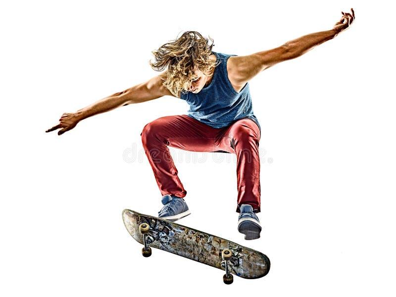 Junger Jugendlichmann des Skateboardfahrers lokalisiert stockfotografie