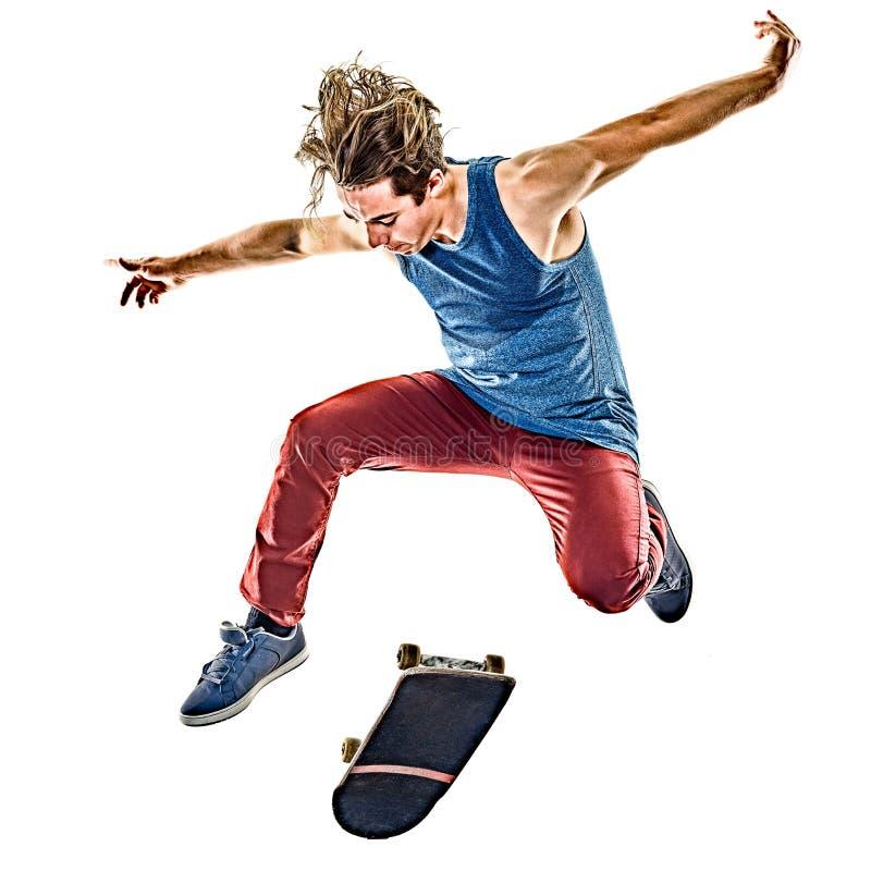Junger Jugendlichmann des Skateboardfahrers lokalisiert lizenzfreie stockfotografie