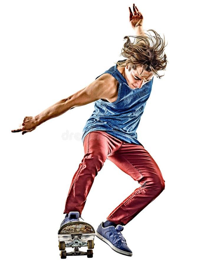 Junger Jugendlichmann des Skateboardfahrers lokalisiert stockfoto