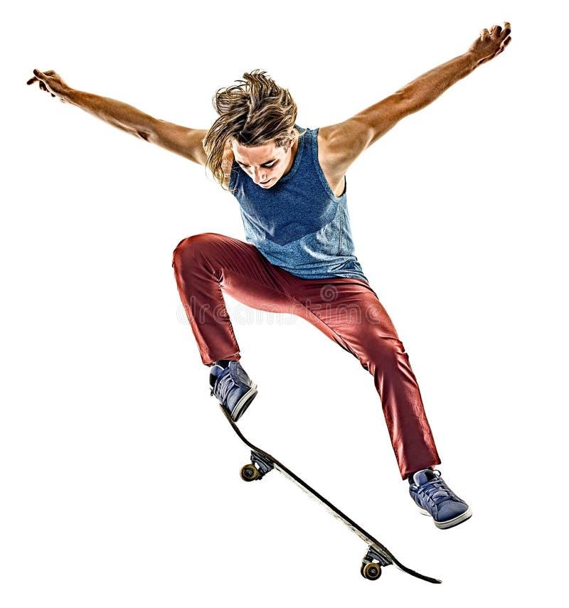 Junger Jugendlichmann des Skateboardfahrers lokalisiert lizenzfreie stockfotos