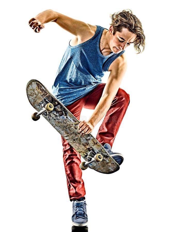 Junger Jugendlichmann des Skateboardfahrers lokalisiert stockbilder