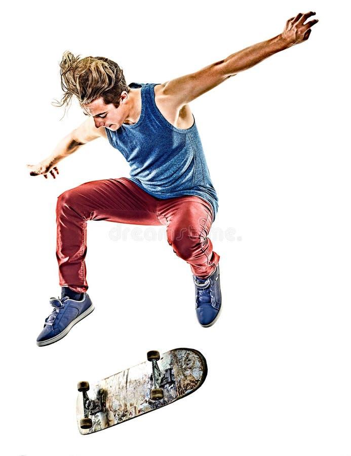 Junger Jugendlichmann des Skateboardfahrers lokalisiert stockbild