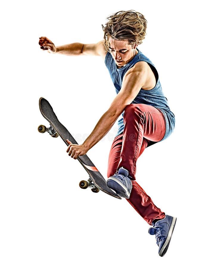 Junger Jugendlichmann des Skateboardfahrers lokalisiert lizenzfreies stockfoto
