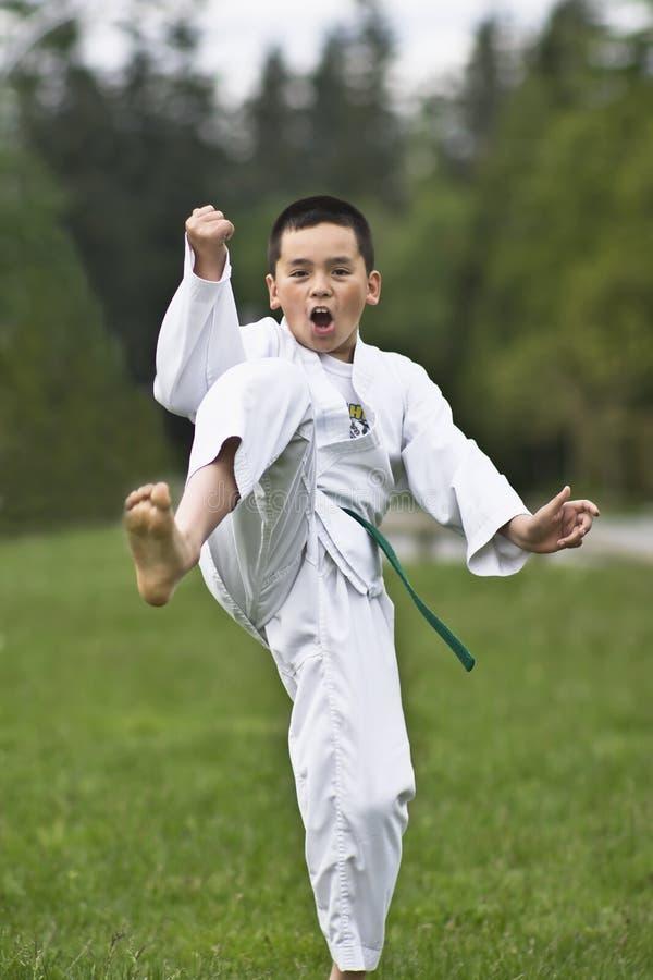 Junger Junge übendes Karate stockfotografie