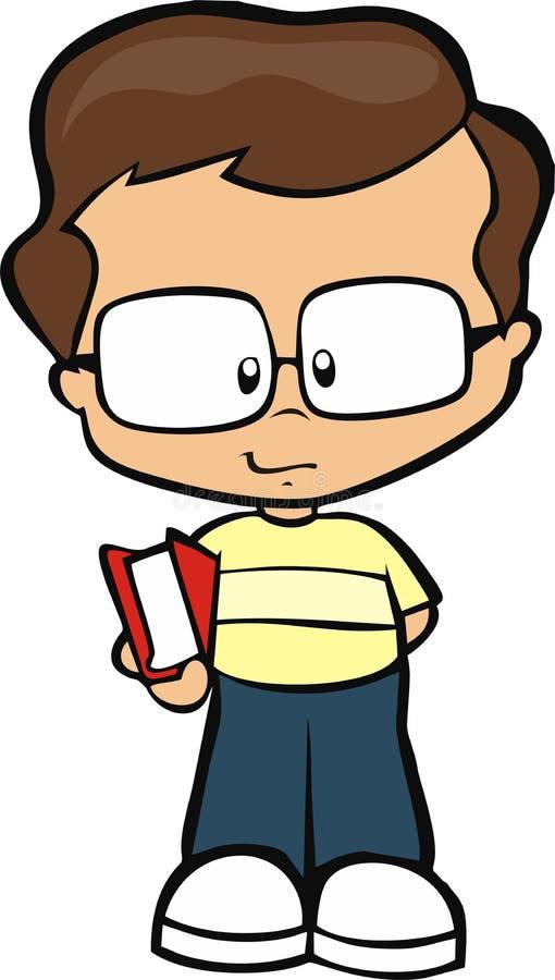 Junger Junge mit Buch stockfoto