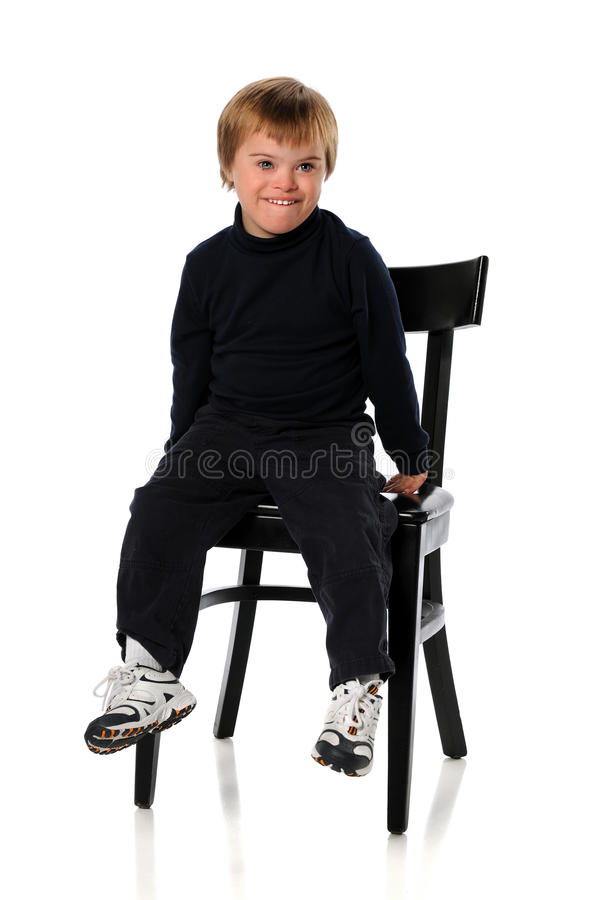 Junger Junge mit Down Syndrome stockfoto