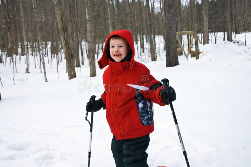 Junger Junge mit Skipolen lizenzfreies stockfoto