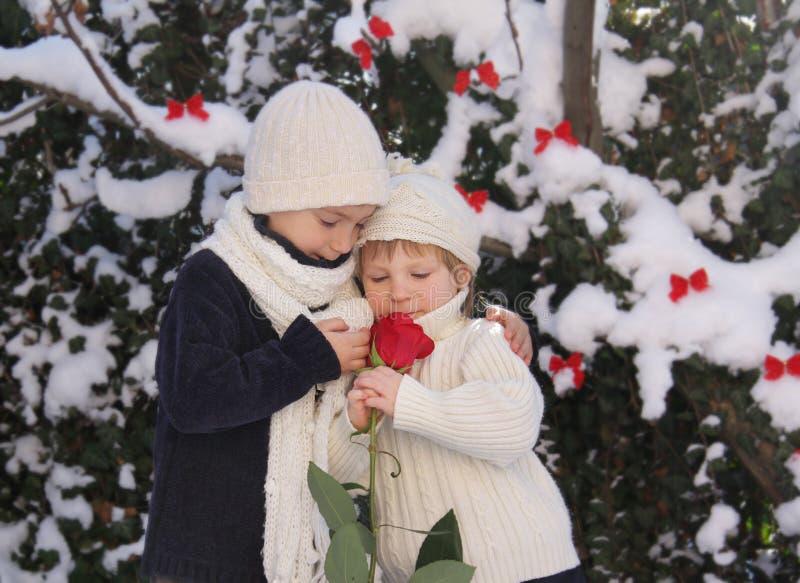 Junger Junge und Mädchen mit Rot stiegen stockfoto