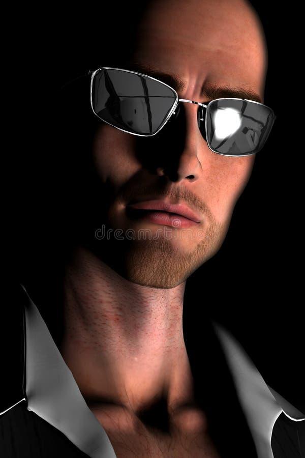 Junger kahler Mann mit Sonnenbrillen lizenzfreie abbildung