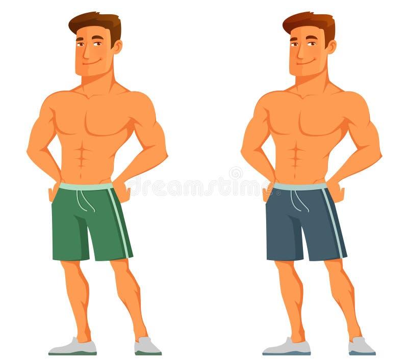 Junger Karikaturkerl, der seine Muskeln zur Schau stellt lizenzfreie abbildung