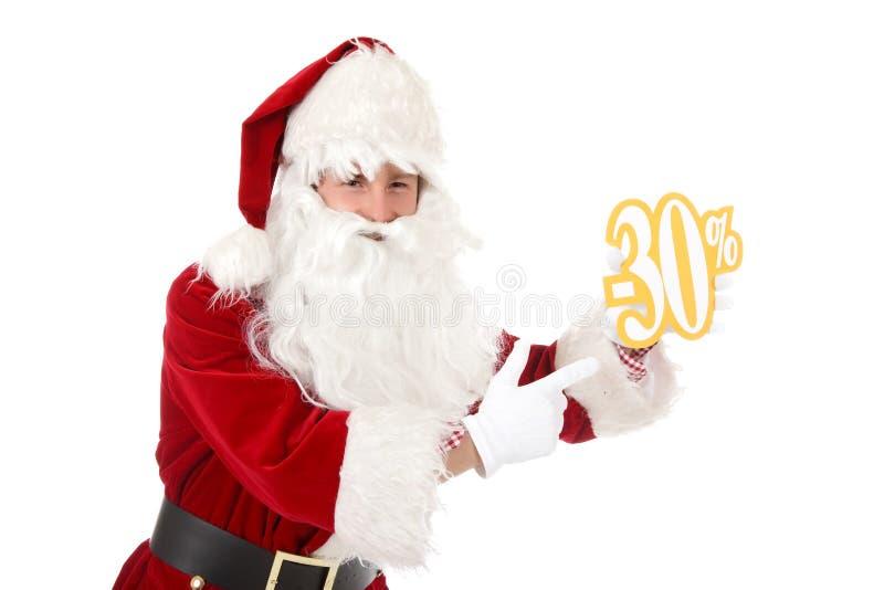 Junger kaukasischer Mann Weihnachtsmann, Rabatt lizenzfreie stockbilder