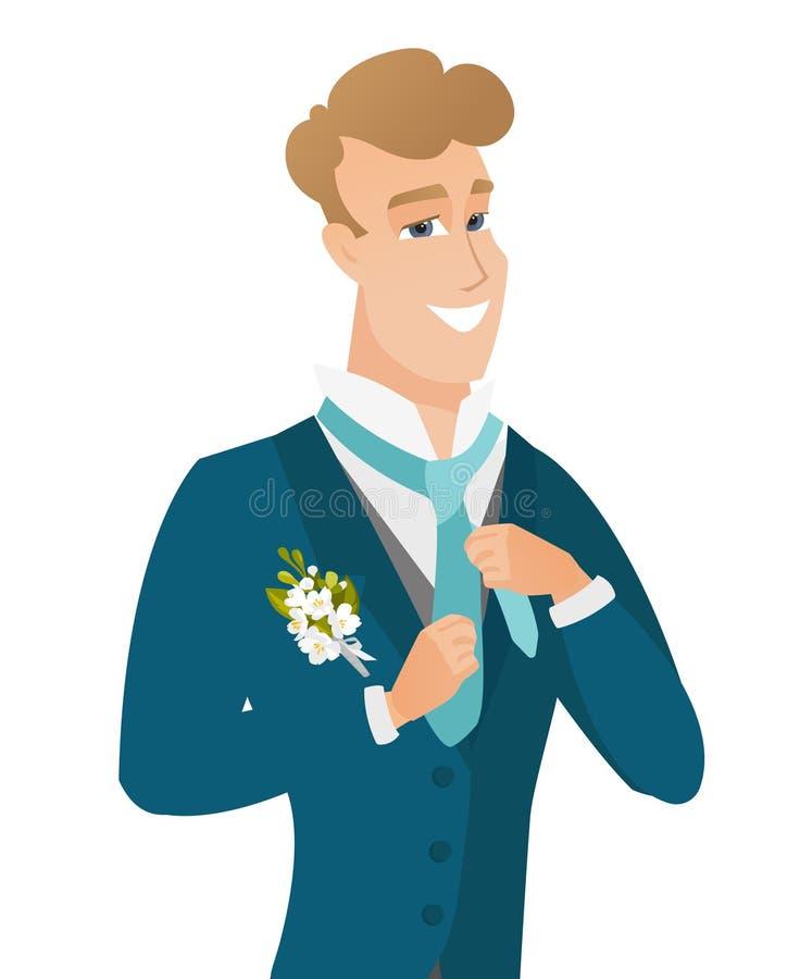 Junger kaukasischer netter Bräutigam, der Bindung justiert vektor abbildung