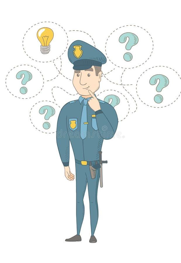 Junger kaukasischer Polizist, der eine Idee hat vektor abbildung