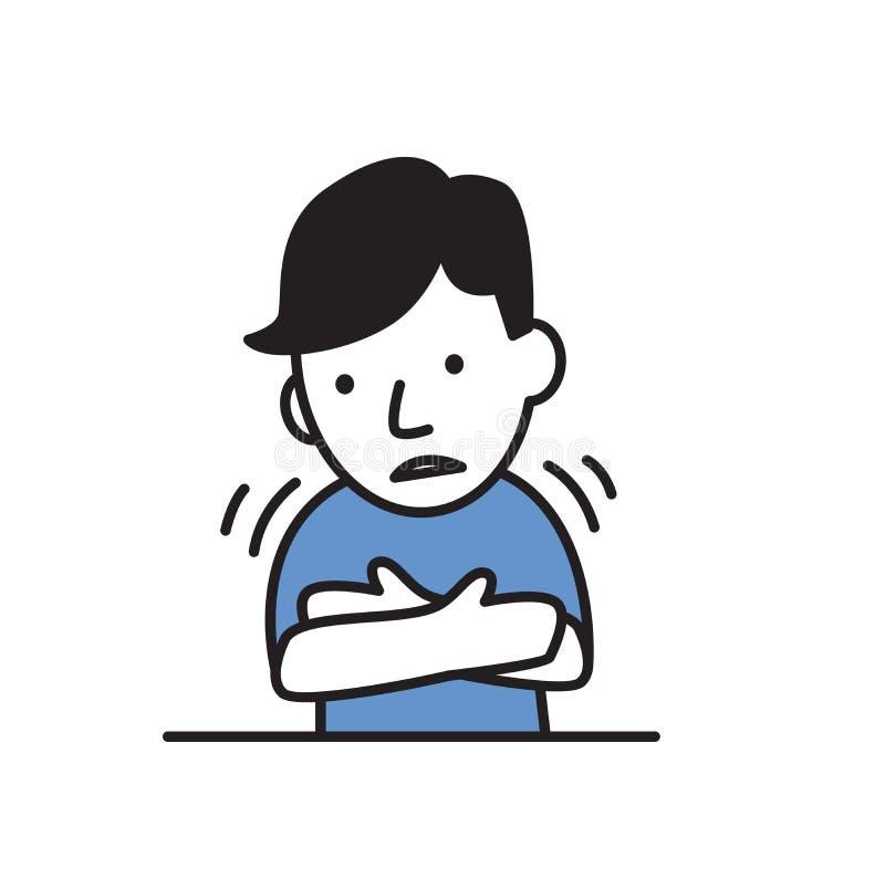 Junger kranker Mann, der ein Fieber oder eine Kälte hat Flache Vektorillustration Getrennt auf weißem Hintergrund lizenzfreie abbildung