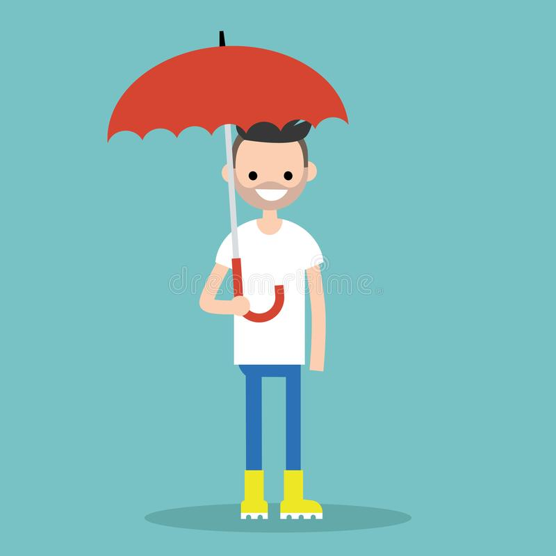 Junger lächelnder Charakter mit dem Regenschirm, der gelben Gummistiefel trägt stock abbildung