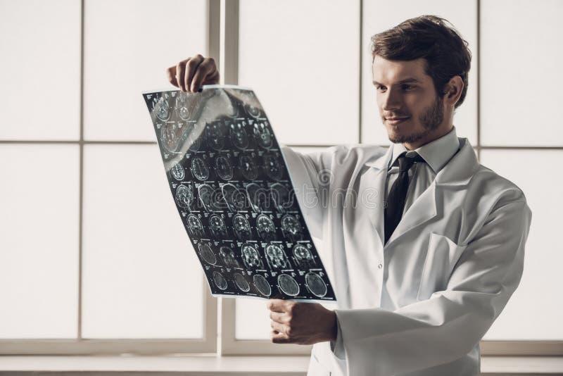Junger lächelnder Doktor Looking an MRI-Scan des Gehirns stockfotos