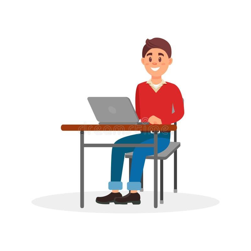 Junger lächelnder Mann, der an Laptop-Computer an seiner Schreibtischvektor Illustration auf einem weißen Hintergrund arbeitet vektor abbildung