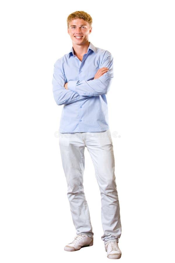 Junger lächelnder Mann, getrennt lizenzfreie stockbilder