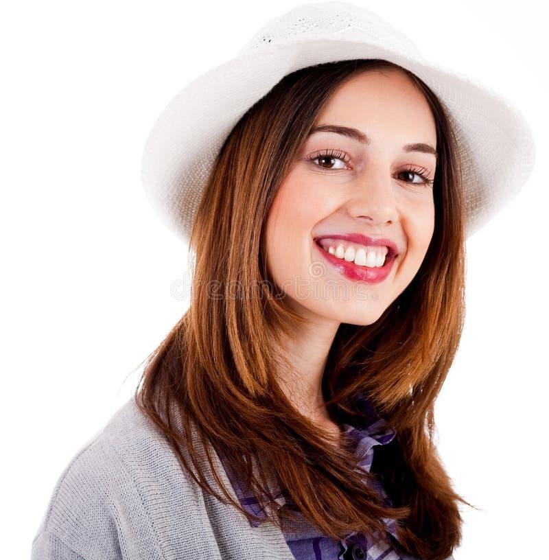 Junger lächelnder vorbildlicher tragender Hut des Gesichtes stockbild